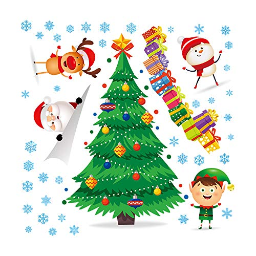 Mendom Christmas Wall Decals,Removalble Santa Claus Christmas Tree Wall Stickers for DIY Home Décor