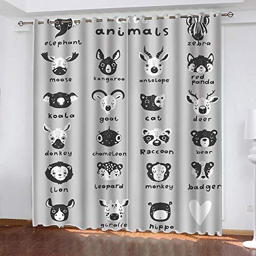 Zoo Cortina Opaca con Ojales 2 Piezas Cortinas Térmicas Aislantes Moderna Decoración Ventanas para Dormotorio Sala Salon 140 × 240 CM