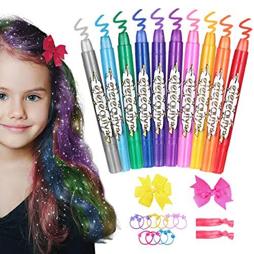 Haarkreide für Mädchen, ETEREAUTY auswaschbare Haarkreide Kinder in 10 Farben, Halloween Haarfärbekreide mit Schmetterling-Haarklammern für Mädchen, Mädchen Geschenk, Mädchen Spielzeug
