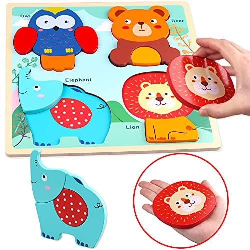 Sunarrive Holzpuzzle mit großen Teilen - Holz Steckpuzzle - Holzspielzeug Puzzle - Montessori Spielzeug - Kinderspielzeug Geschenk für Baby Kleinkinder Kinder Junge Mädchen ab 1 2 3 Jahre (Tiere)