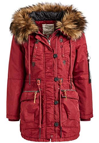khujo Halle Damen Jacke Winterjacke Parka Nylon Coat Lorene Vicenza (M, Red (dunkelrot))