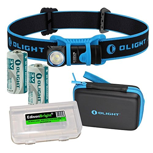 EdisonBright Olight H1 500 Lumen CREE LED headlamp in Carry case with 2 X Olight CR123 Lithium Batteries Battery case