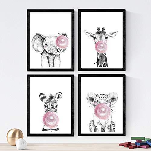 Nacnic Set de 4 láminas de Animales Infantiles con Chicle Rosa,en tamaño A3, Poster Papel 250 gr Marco