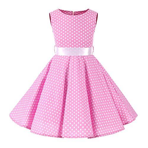 FYMNSI Vestido para niña de los años 50, vintage, rockabilly, de lunares, para noche, cumpleaños, fiesta, estilo años 50, Rosa., 9-10 Años