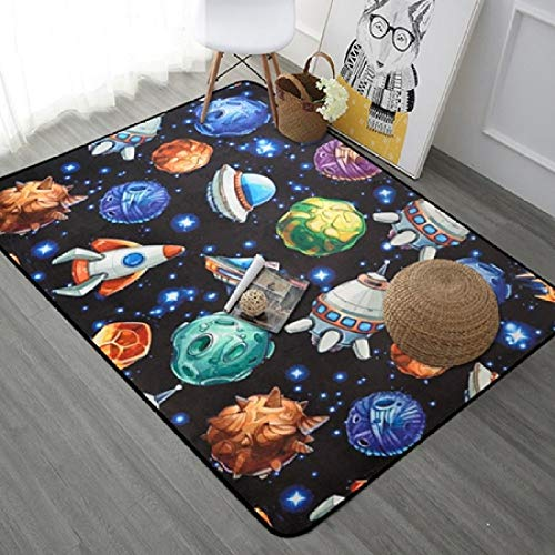 SDFJKOPlanet Cartoon Carpet For Living Room Soft Carpet Kids Room Cute Rugs For Bedroom Computer Chair Floro Mat/Rug,DT01,100x150cm