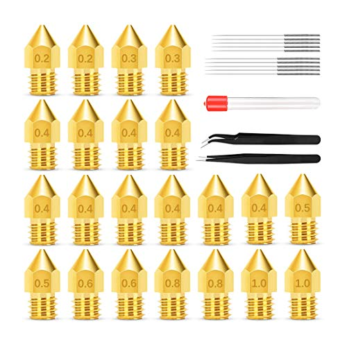 MK8 Nozzles, Bibonse 22PCS 3D Printer Extruders Brass Nozzles with 17 Stainless Steel Cleanning Needles for Ender 2/3/5 Makerbot Creality CR-10 Anet A6 A8