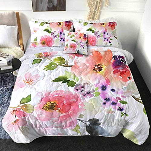 Sleepwish Floral Comforter Set Bed Comforter Queen Set Pink Flowers Bedding Sets with Comforter Watercolor Green Leave Lightweight Summer Bedspreads with 2 Pillow Shams 1 Cushion Cover (4 Pcs, Queen)
