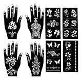 Henna Tattoo Stencils (Pack Of 8) | Henna Tattoo kit | 4 Different Patterns (2 Each Hand) | Tattoo Stencils | Henna Stencils For Henna Designs