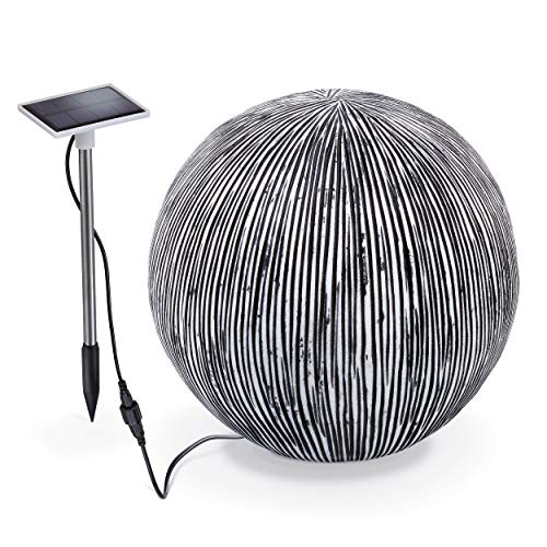 Beleuchtete Solarkugel RibbedBall in Sandstein Optik - Durchmesser 27 cm - Lichtfarbe warmweiß und kaltweiß umschaltbar - Garten Highlight Unikat - Kugelleuchte Solarlampe LED Garten, esotec 102676