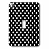 Polka Dot Designs - White Polka Dots on Classy Black - Classic Retro fifties elegant spots pattern - Light Switch Covers - single toggle switch