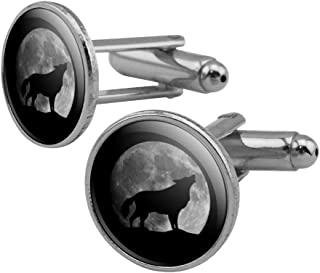 Wolf Howling Moon Silhouette Round Cufflink Set Silver Color