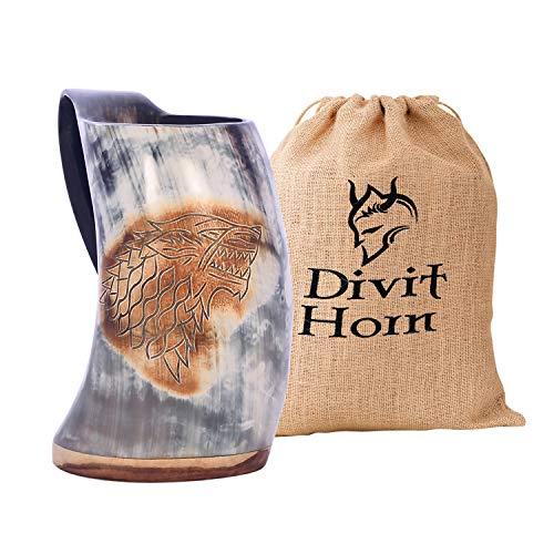Divit Authentisches Wikingerhorn Bierkrug | Authentisches mittelalterliches Biertrinkhorn | Leinen-Geschenkbeutel inklusive | 700 ml (24 oz) Fassungsvermögen.