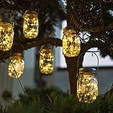 Lanterne da Esterno, 6 Pezzi 20 LED Impermeabile Luce Solare, Illuminazione Lampada Solare, Impermeabile IP65 Luci del Barattolo Solari, Luci Giardino Vintage Lampada per Giardino (luce calda, 1 m)