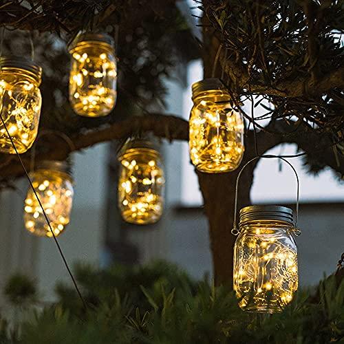 Lanterne da Esterno, 6 Pezzi 20 LED Impermeabile Luce Solare, Illuminazione Lampada Solare, Impermeabile IP65 Luci del Barattolo Solari, Luci Giardino Vintage Lampada per Giardino (luce calda, 2 m)