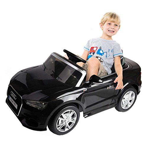 Costzon Ride On Car, Licensed Audi A3 12V 2WD Battery Powered Ride-On Toy Manual/Parental Remote Control Modes Vehicle with Headlights, MP3, Music, Adjustable Speed for Kids (Black)