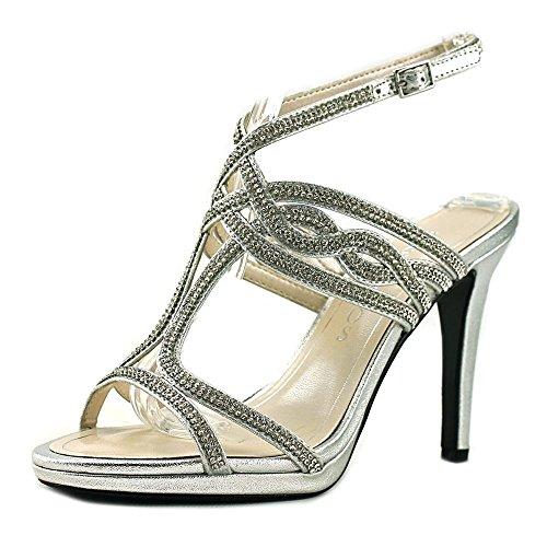 Caparros Womens Heather Open Toe Bridal Slingback, Silver Metallic, Size 5.5
