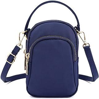 Cell Phone Crossbody Purse, OURBAG Women Nylon Waterproof Multi-Slot Solid Crossbody Shoulder Bag for Girls Dark Blue