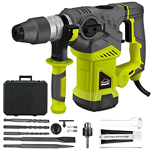 DEWINNER Rotary Hammer Drill,SDS Plus Vibration Control and Safety Clutch, 1500W Heavy Duty, Including 3 Drill Bits,Flat Chisels, Point Chisels, Drill Chuck, 360°Rotating Handle, with Carrying Case