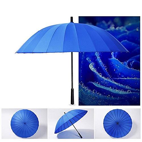 NJSDDB paraplu Paraplu 24 Het bot Super Pure Kleur Licht Lange Handvat Kinderen Parasol Semi Rechte Zonnescherm Waterdichte Paraplu #45 China Donker Blauw