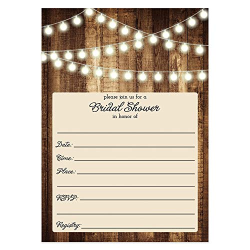 DB Party Studio Rustic Bridal Shower Invitations with Envelopes (Pack of 25) Wood & Lights Fill In Bridal Shower Invites Excellent Value Wedding Party Invitations VI0007B