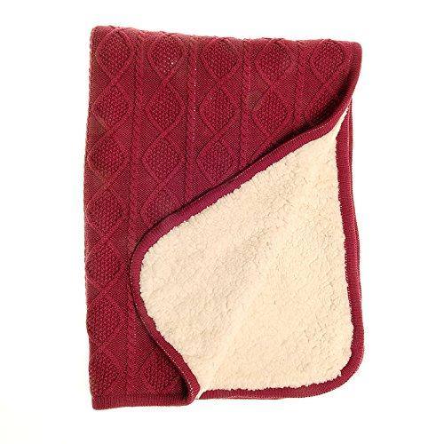 Ziggle bébé de luxe sherpa couverture en molleton avec câble coton rose framboise en tricot pour nursery lit et pram, nouveau cadeau bébé