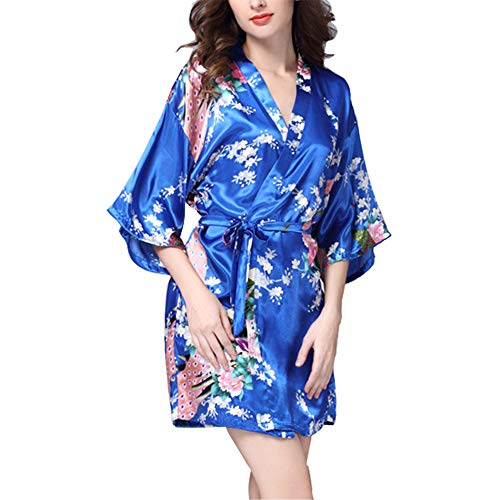 VILLAVIVI Vestido Párrafo Corto Mujer Kimono Pavo Flores Satén Albornoces Pijamas (XXL, Azul)