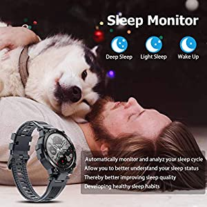 """Smart Watch for Men Women, Fitness Tracker for Android/iOS Phone Activity Tracker 1.3"""" Touch Screen Heart Rate Tacking Sleep Monitor IP68 Waterproof Step Counter Calories Tracker Smartwatches (Grey)"""