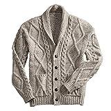 100% Irish Merino Wool Aran Button Cardigan, Oatmeal, Large