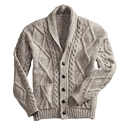 100% Irish Merino Wool Aran Button Cardigan, Oatmeal, Medium