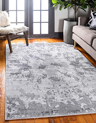 Unique Loom Metro Collection Abstract Stone Dark Colors Light Gray Area Rug (5' 0 x 8' 0)