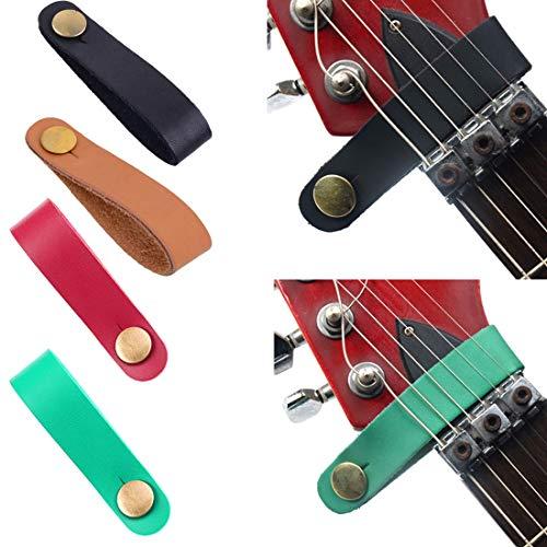 SUNXK Soporte de correa de guitarra de cuero Botón de bloqueo seguro...