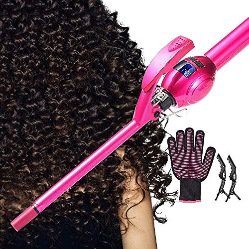 LONGKO Professional Lockenstab 9 mm für kurze und lange Haare - Lockenwickler mit hitzebeständigem Handschuh und Haarspangen