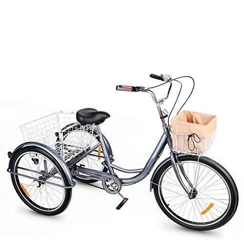 Viribus Dreirad für Erwachsene Dreirad 24 Zoll Fahrrad mit Korb 3 Rad Fahrrad für Erwachsene Adult Tricycle 3-Rad-Dreirad (Grau)