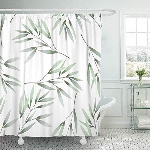 N\A Dekorativer Duschvorhang Rosa olivgrünes Blumenmuster Das Aquarell Grün hinterlässt Zweige auf Blatt Wasserdichter, schimmelresistenter Badezimmer-Duschvorhang mit Haken
