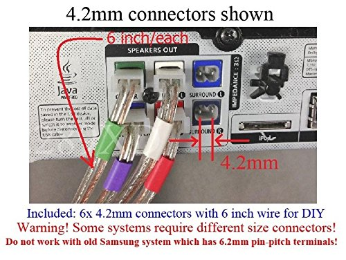6 inch//Each for DIY; Please Read warnings!! 3X 8.2mm Speaker Wire Connectors Plugs for Select Old Panasonic DVD//Blu-Ray Home Theater Systems; 3 PCs