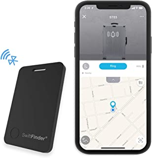 Smart Luggage Tag,SwiftFinder Bluetooth Key Finder GPS Item Tracker Locator Suitcases Bag Anti-Lost Bidirectional Alarm Reminder with App Control for iPhone and Android Black