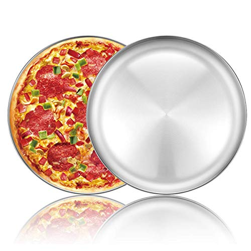 Pizza Baking Pan Tray 12 inch Stainless Steel Round Baking Sheet Oven Non-Toxic & Healthy Bakeware