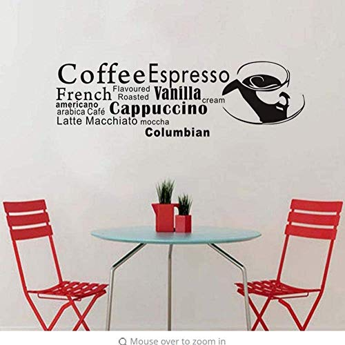 Diy Art Wandaufkleber Abnehmbare Küche Dekor Kreative Wandaufkleber Kaffee Espresso Buchstaben In Coffee Shop Dekoration 59X43 Cm