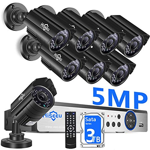 【3TB HDD】 8Channel 5MP Camera Security System,4Pcs 96Ft+4Pcs 64Ft BNC Cables,8Pcs UltraHD 5MP Cameras,Phone&PC Remote Viewing,Motion Alarm,Night Vision,IP66 Waterproof,24/7 Recording,Easy Setup,H.265