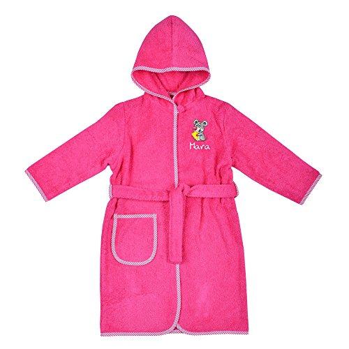 Wolimbo Kinder Bademantel mit Namen und Motiv pink Größe 110/116