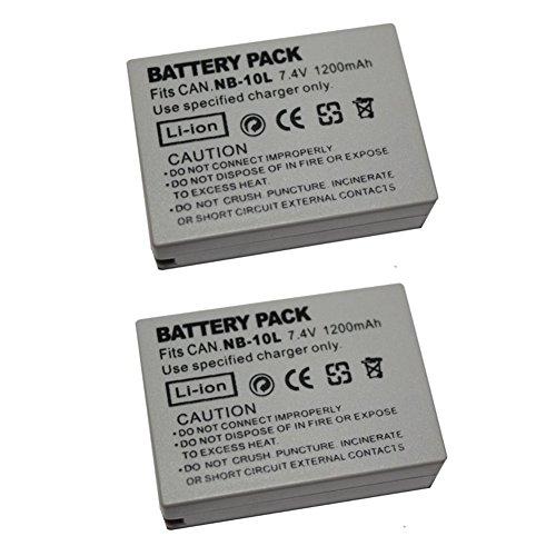 2 Piezas 1200 mAh NB-10L NB10L Batería para Canon NB-10L NB10L NB10L SX40HS SX50HS SX60HS SX40 SX50 SX60 HS Cámara (2 pcs Battery)