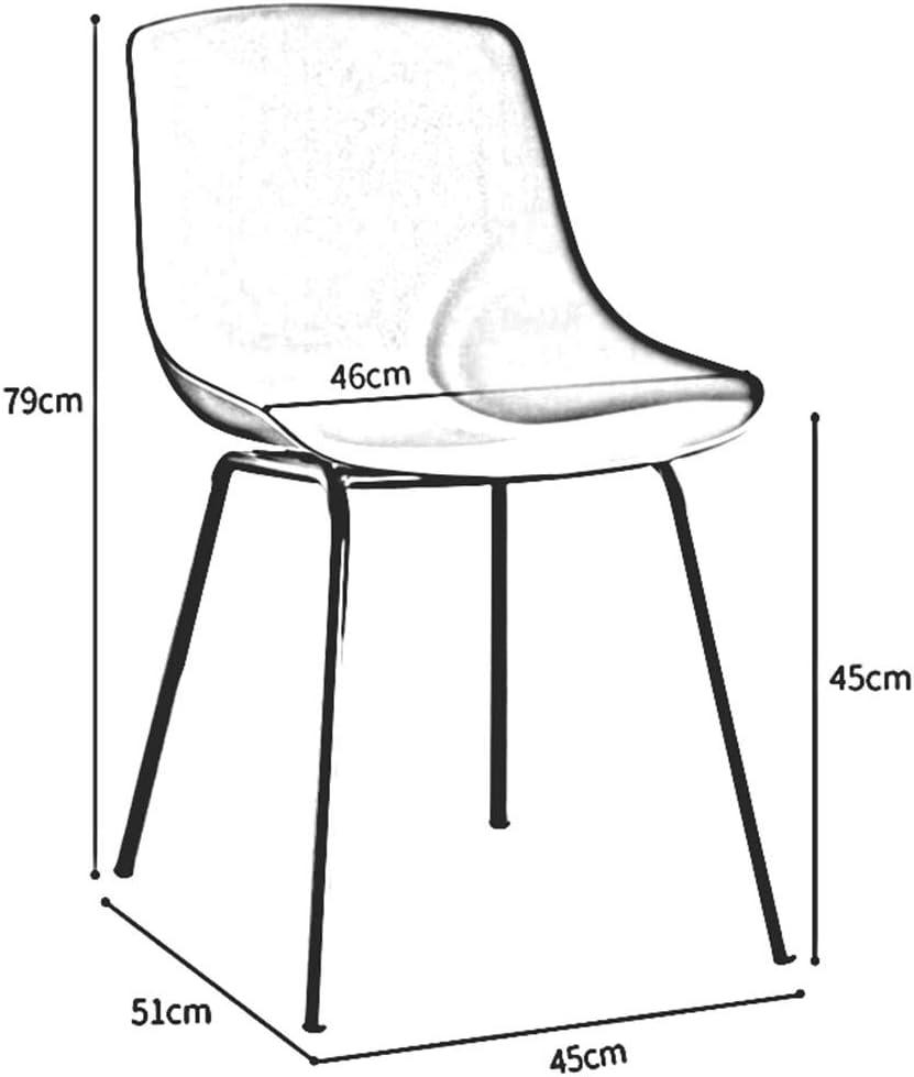 DALL Chaises De Salle À Manger Pattes en Métal Chaise De Table Coussin en Plastique Chaise De Café Chaise De Réception Dossier Assemblée 45x51x79cm (Color : White) White