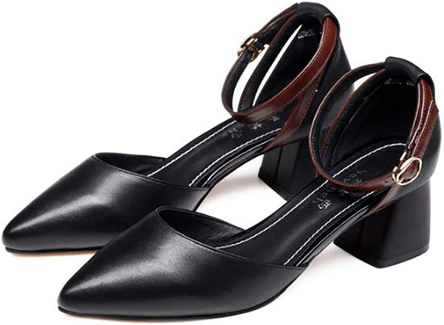 Women's shoes, Summer, Middle-Heeled shoes, Thick and Comfortable shoes, one-Button shoes (color   B, Size   34)