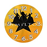 FETEAM Reloj de Pared Hamilton Las Hermanas Schuyler Relojes de Pared Funciona con Pilas Silencioso Decoración Pared para Cocina, Salon, Oficina, Dormitorio 25cm