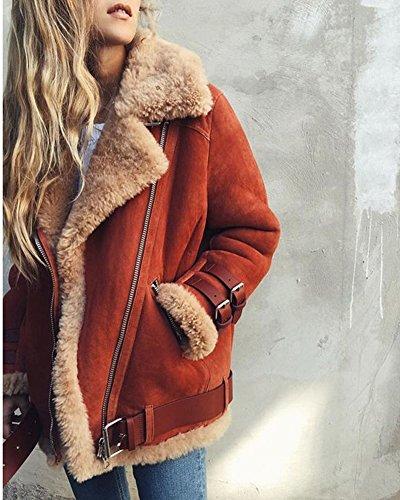 Minetom Damen Mode Warm Casual Streetwear Winter Wildleder Wolle Motorradjacke Mantel Fleece Outwear Jacke Parka Mit Taschen Grau DE 36 - 5