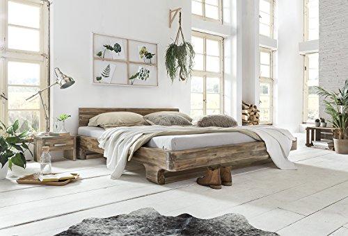 Woodkings® Holzbett 180x200 Mayfield Holz rustikal Schlafzimmer Möbel massiv Design Doppelbett Ehebett Balkenbett Echtholzmöbel (Akazie Rustic)