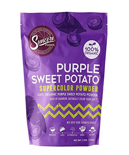 Suncore Foods – Organic Purple Sweet Potato Supercolor Powder, 5oz – Natural Purple Sweet Potato Food Coloring Powder, Plant Based, Vegan, Gluten Free, Non-GMO