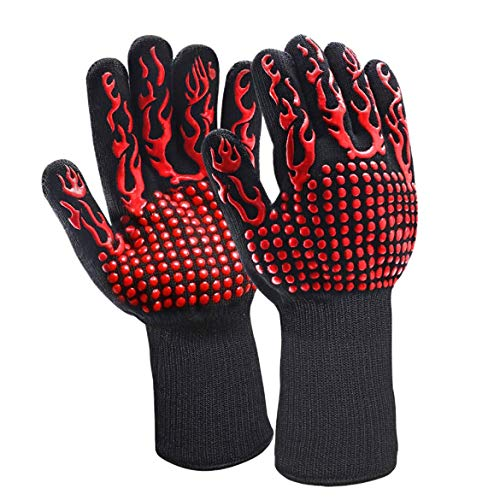 JohnJohnsen Backformen Ofenhandschuhe Handschuhe BBQ Silikonhandschuhe Hochtemperatur Verbrühschutz 500~800 Grad Isolierung Barbecue Mikrowelle