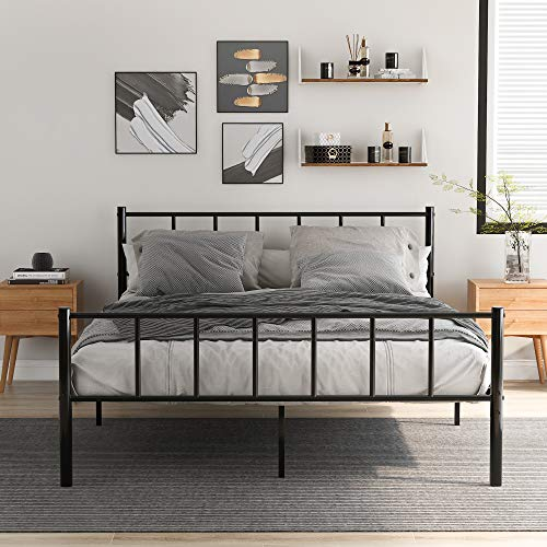 U/K Solid Double Metal Bed Frame 4ft6 for Adults Kids Children with Vintage Headboard and Footboard, Fits for 135 * 190 CM Mattress,Black
