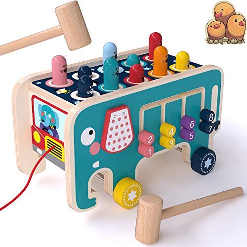 CORPER TOYS 木製パズル モグラ叩き プルトイ 引っ張る車 モグラたたき モグラたたきおもちゃ 歯車 ハンマーおもちゃ 数字パズル 4IN1 男の子 女の子 室内おもちゃ クリスマス プレゼント カラフル